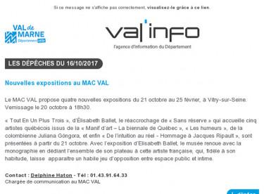 Val'info : 16/10/2017