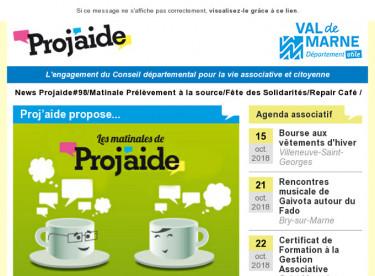 News Projaide#98/Matinale Prélèvement à la source/Fête des Solidarités/Repair Café