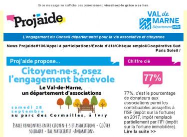News Projaide#106/Appel à participations/Ecole d'été/Chèque emploi/Coopérative Sud Paris Soleil