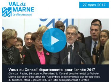 Vœux 2017 / Val'Hebdo / Assos / Solidarité / Villages vacances / Zéro pesticide / Sciences des livres / Grand Paris Express