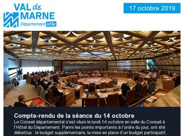 Compte-rendu de la séance du 14 octobre - Participez au Salon des aidants vendredi 18 octobre à Créteil