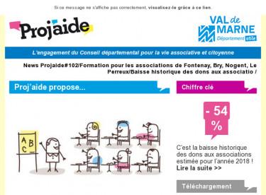 News Projaide#102/Formation pour les associations de Fontenay, Bry, Nogent, Le Perreux/Baisse historique des dons aux associatio