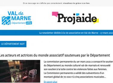 News Proj'aide 140 Le Département agit, Etude INJEP, Dépistage COVID, La Grande équipe