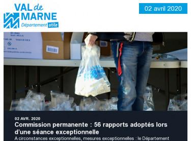 Commission permanente du 2 avril 2020 : mesures exceptionnelles en réponse à la crise sanitaire