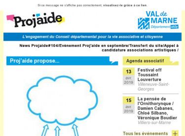 News Projaide#104/Evènement Proj'aide en septembre/Transfert du site/Appel à candidature associations artistiques