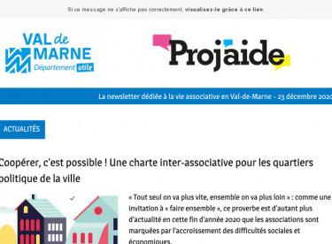 News Proj'aide 134 Charte de la coopération, la parole à deux associations jeunesse, appels à projets