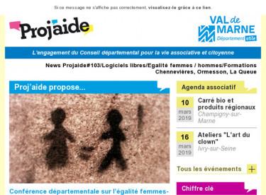 News Projaide#103/Logiciels libres/Egalité femmes-hommes/Formations Chennevières, Ormesson, La Queue-en-Brie et Noiseau