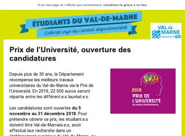 Prix de l'Université, ouverture des candidatures