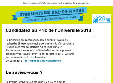 Le Prix de l'Université 2018 est ouvert