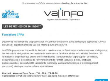 Val'info : 30/11/2017
