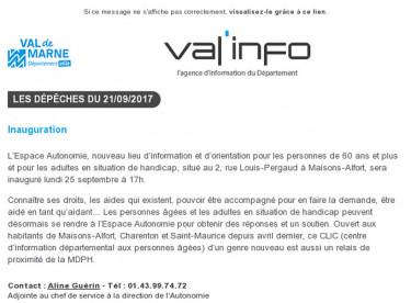 Val'info : 21/09/2017