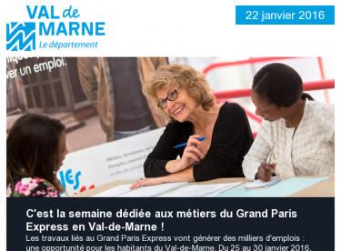 Métiers du Grand Paris Express / Aides pour le BAFA / Exposition / Val'Hebdo