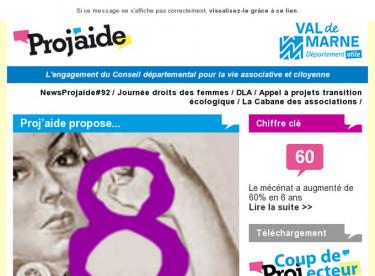 NewsProjaide#92 / Journée droits des femmes / DLA / Appel à projets transition écologique / La Cabane des associations