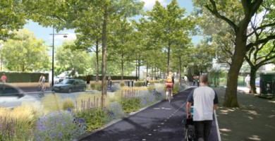 Perspective de la nouvelle RD 127 qui sera plus spacieuse pour les piétons et cyclistes.